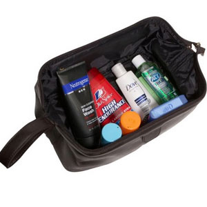 Amerileather Top Zip Leather Toiletry Bag For Men